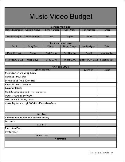 music video budget template  Free Wide Row Music Video Budgeting Form from Formville - music video budget template