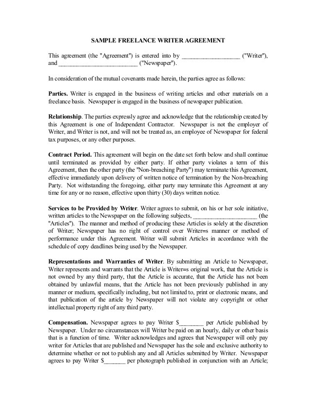 virtual assistant contract template  Freelance Writer Contract - virtual assistant contract template