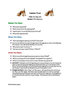 lesson plan template pdf  Go, Dog, Go. A Complete Lesson Plan