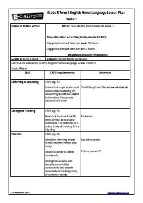 grade r lesson plan template  Grade R Home Language – Term 3 – Weeks 1-3: Lesson Plans ..