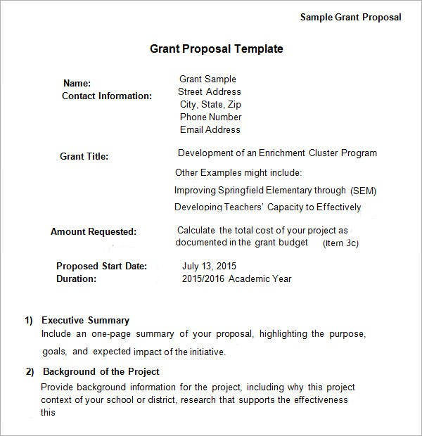 grant proposal template  Grant Proposal Template - 9+ Download Free Documents in ..