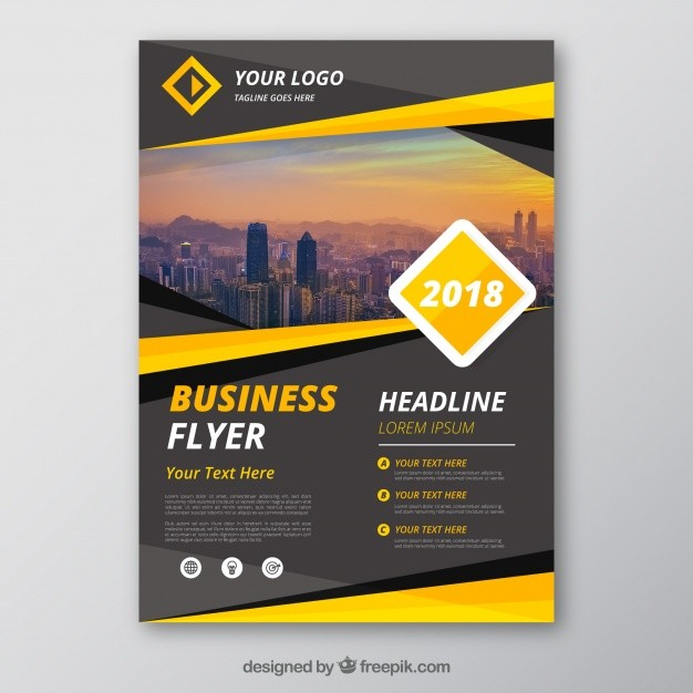 e flyer templates free  Grey and yellow business flyer template | Free Vector - e flyer templates free