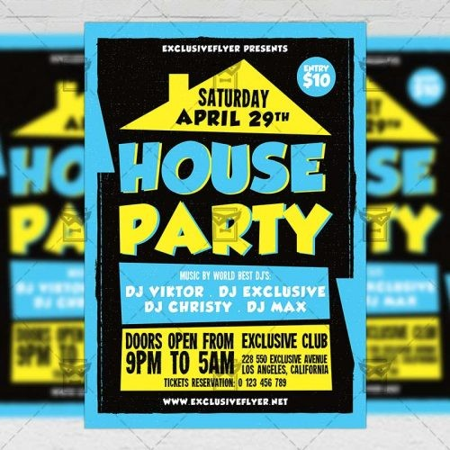 house party flyer template  House Party – Club A5 Flyer Template | ExclsiveFlyer ..