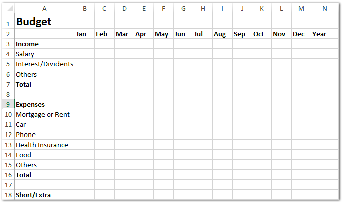 budget table template  How to make a monthly budget template in Excel? - budget table template