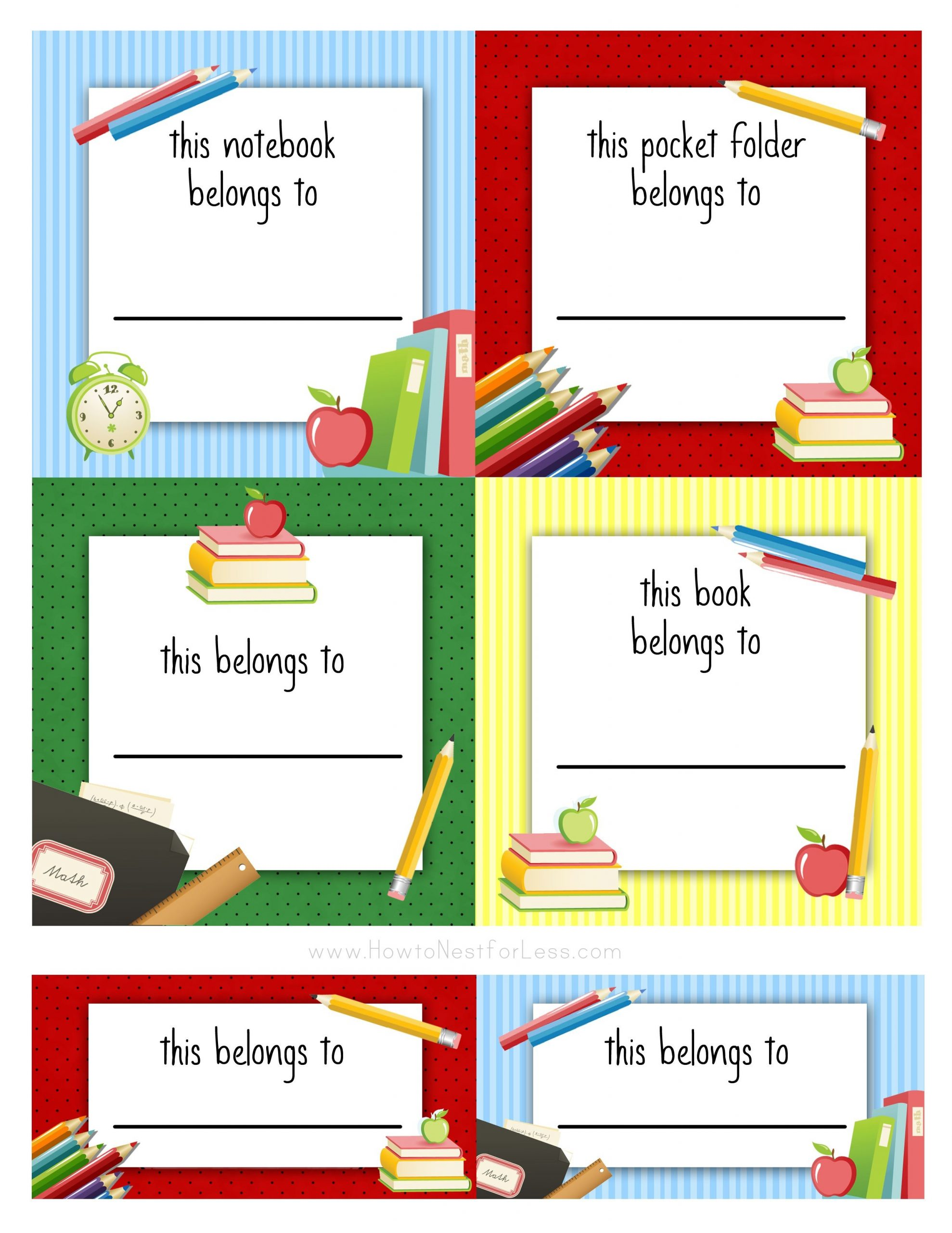 labels template for school  Kids & School Labels, Printables and Templates. on ..