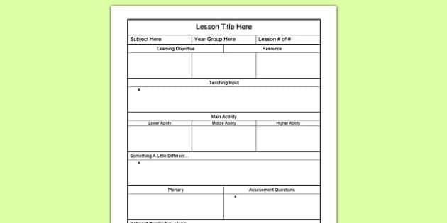 lesson plan template uk secondary  KS1 Lesson Plan Template - Resource for Teachers - lesson plan template uk secondary
