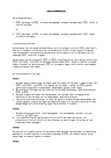 service contract template word  Leaseovereenkomst - service contract template word
