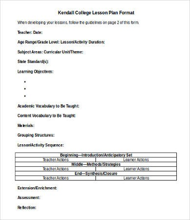 lesson plan template doc  Lesson Plan Template DOC - 16+ Free Word, Documents ..