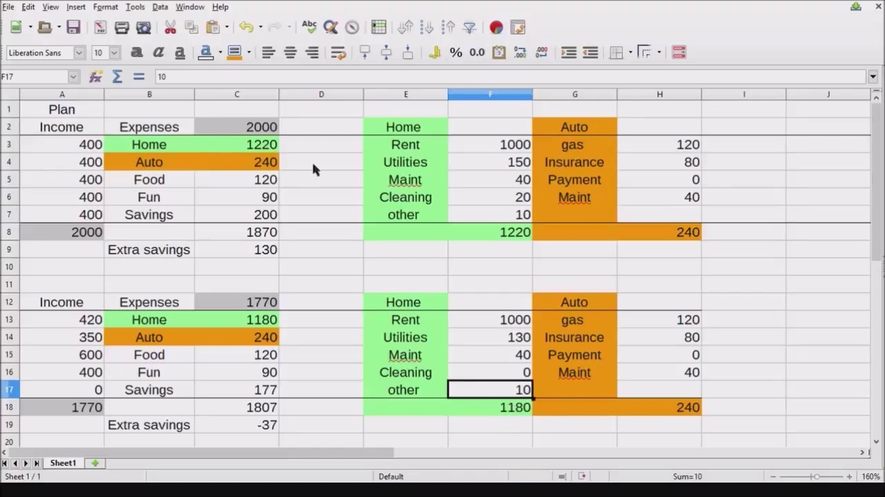 office budget template  Libre Office Budget Spreadsheet - YouTube - office budget template