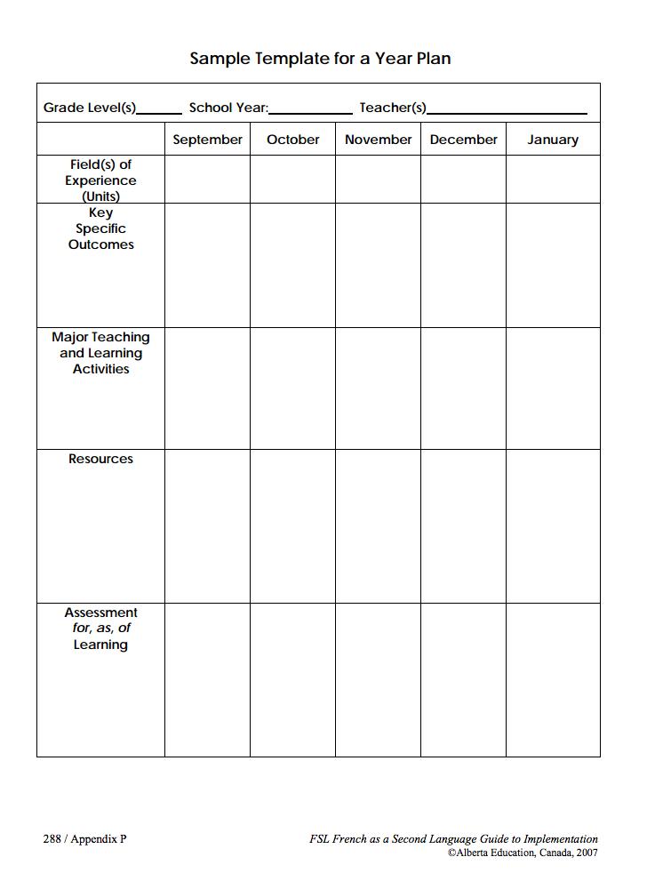 lesson plan template alberta  Madame Belle Feuille: Long Range Planning Tools - Ambrose 2013 - lesson plan template alberta