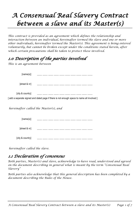 house contract template  Master(S) Slave Consensual Real Slavery Contract Template ..