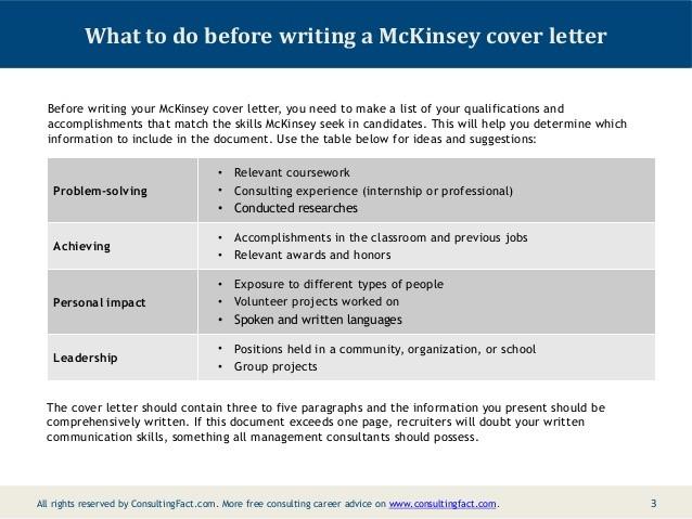 consulting proposal template mckinsey  McKinsey Cover Letter Sample - consulting proposal template mckinsey