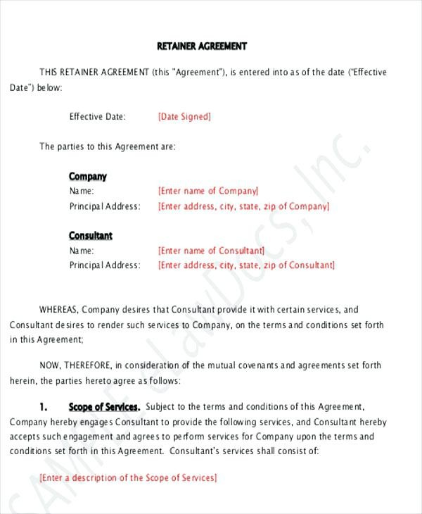 monthly retainer proposal template  Monthly Retainer Agreement | Sample Retainer Contract - Bonsai - monthly retainer proposal template