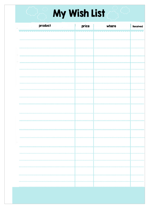 budget wish list template  MsWenduhh Planning & Printable: Free Printable Inserts - budget wish list template