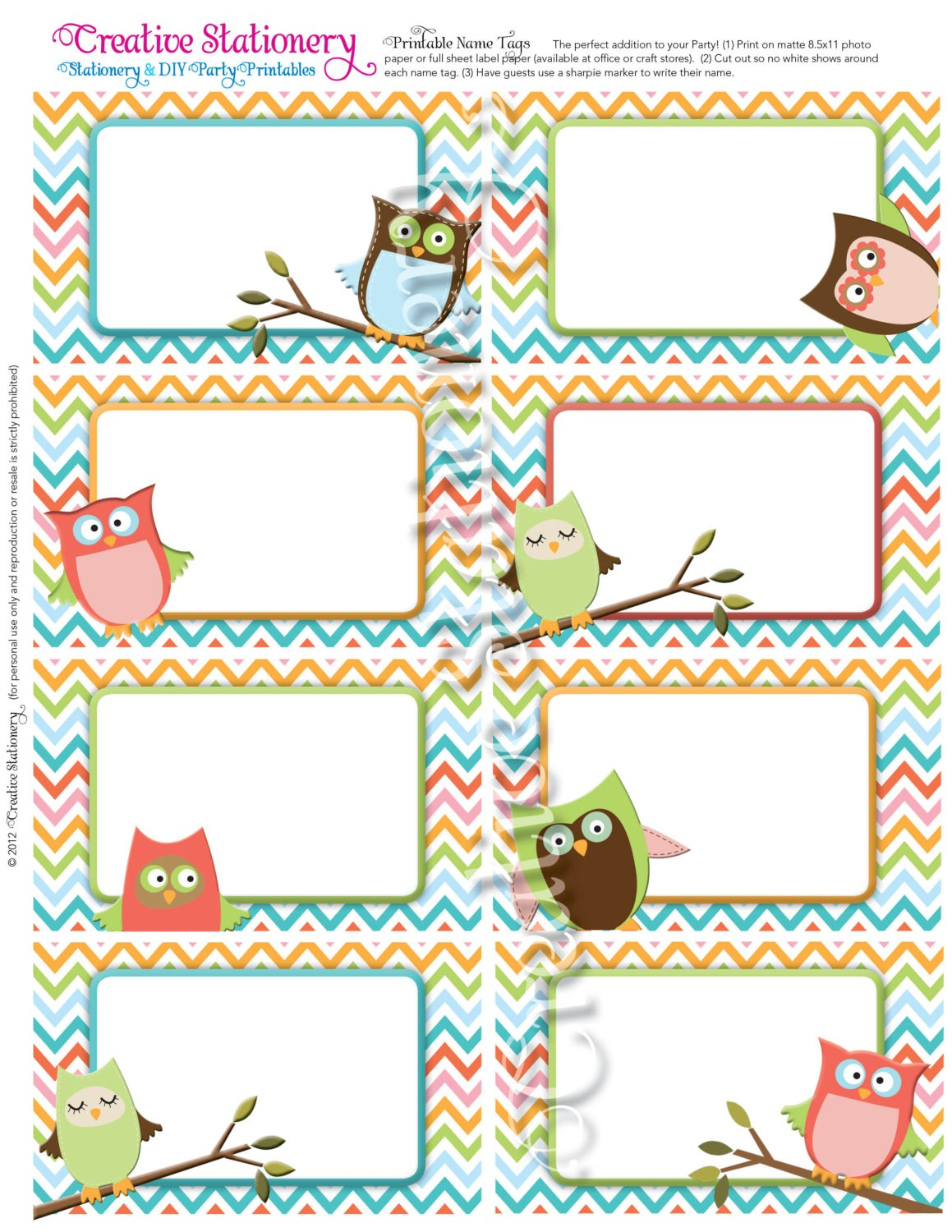 cute name labels template  Owl Baby Shower Name Tags. Orange Green Pink by ..