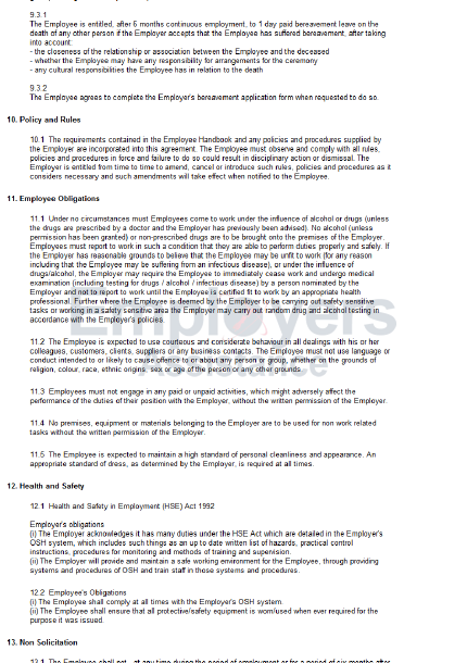 part time contract template  Part Time Employment Contract & Agreement - Employers ..