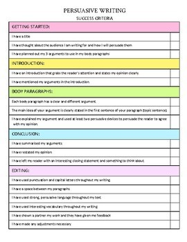 success criteria checklist template  Persuasive Writing Success Criteria - Checklist Template | TpT - success criteria checklist template