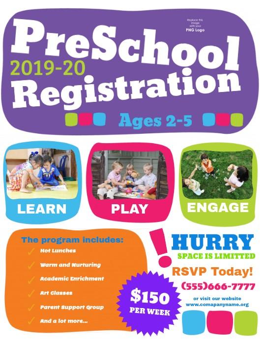 kindergarten registration flyer template  Preschool Registration Template | PosterMyWall - kindergarten registration flyer template
