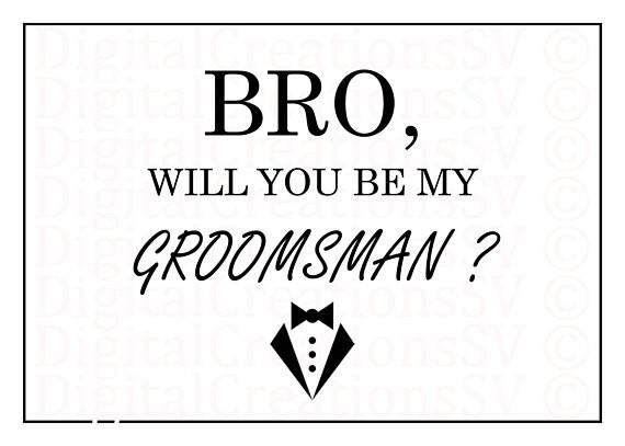 groomsmen proposal template  PRINTABLE Bro Will You Be My Groomsman Groomsman - groomsmen proposal template