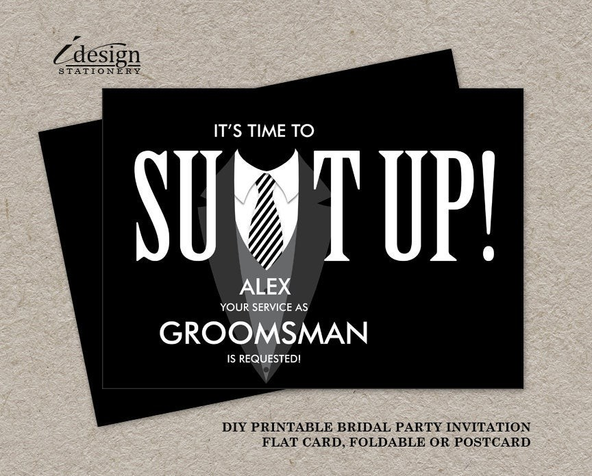 groomsmen proposal template  Printable Groomsman Proposal Card Suit Up Black Tuxedo - groomsmen proposal template