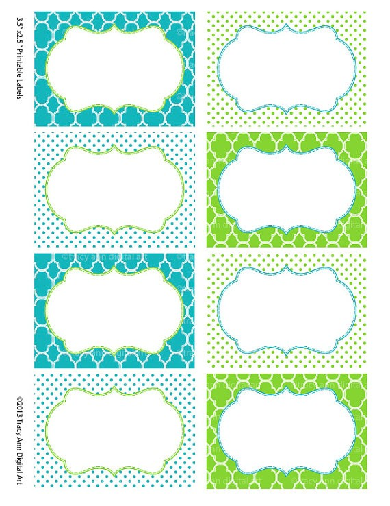 tag labels template  Printable Labels or Buffet Cards Blue and Green Instant - tag labels template