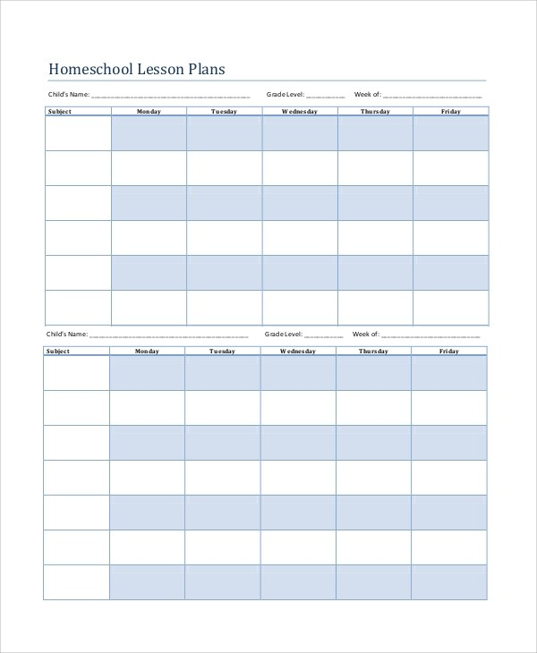 lesson plan template homeschool  Printable Lesson Plan - 7+ Free Word, PDF Documents ..