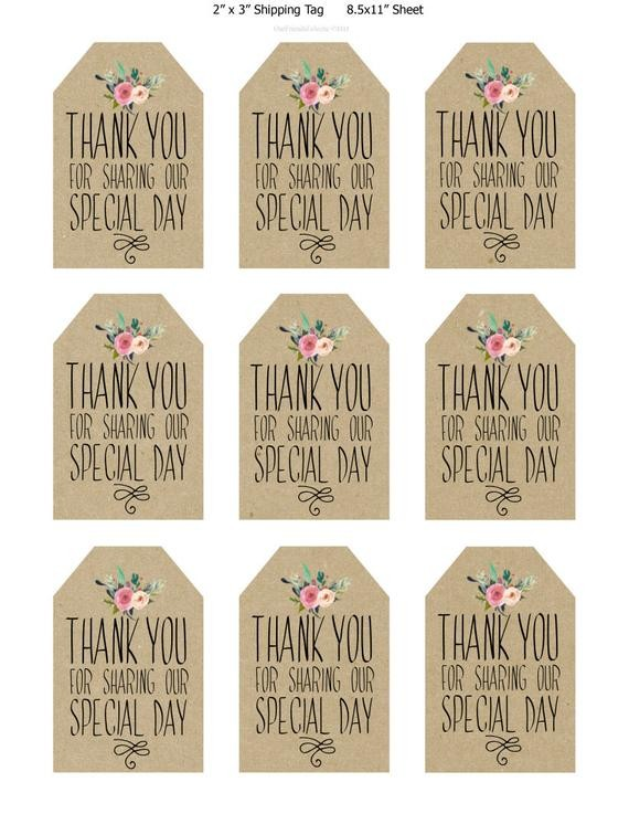 thank you labels template  printable wedding favor tags thank you printable tags - thank you labels template