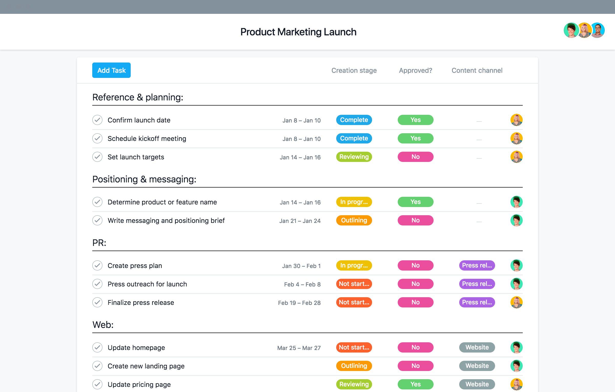 business launch plan template  Product launch plan template, tips, and examples · Asana - business launch plan template