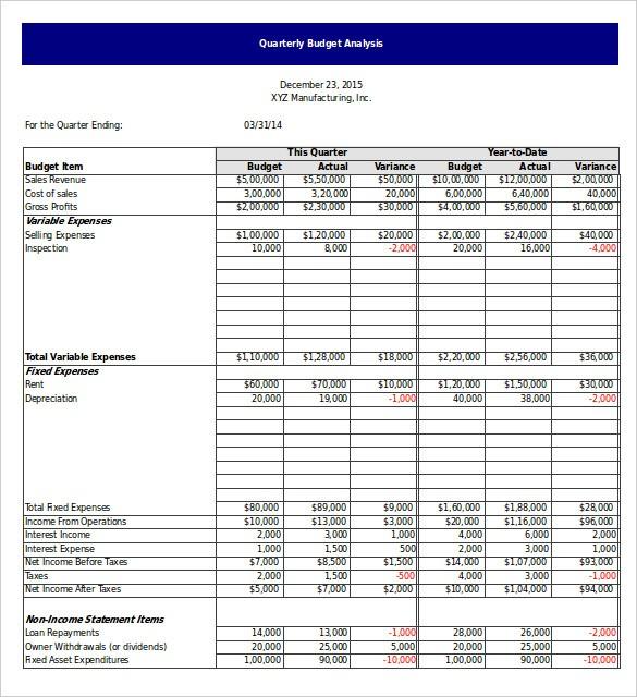 excel quarterly budget template  Quarterly Budget Template Excel | budget template free - excel quarterly budget template