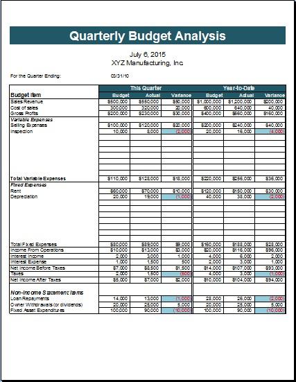 quarterly budget template  Quarterly Budget Template Excel | budget template free - quarterly budget template