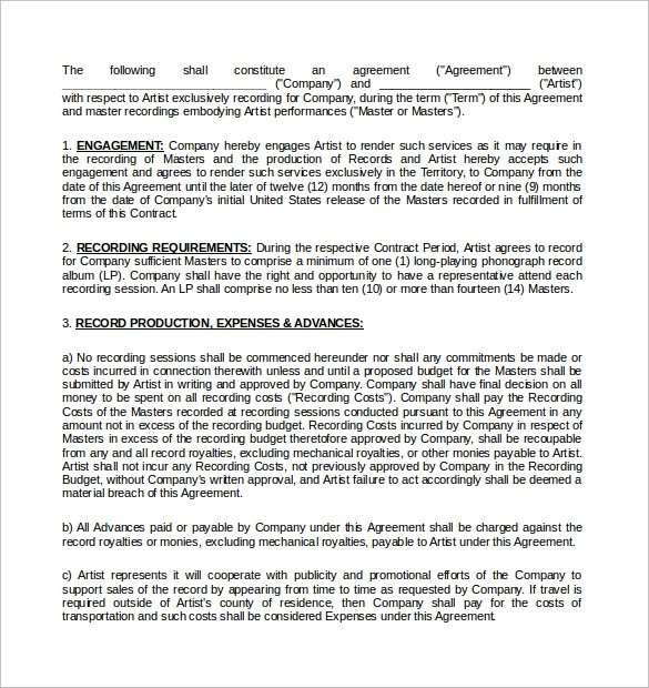 music contract template pdf  Recording Contract Template - 11+ Download Documents in ..