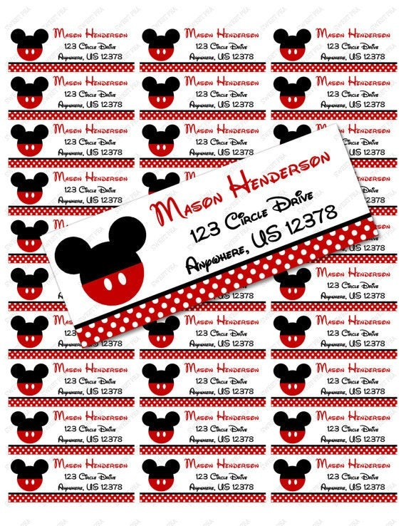 mickey mouse labels template  Red Mickey Mouse Address Label Avery 5160 Instant download - mickey mouse labels template