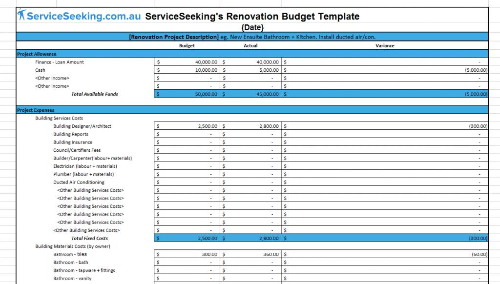 renovation budget template  Renovation Budget Template | ServiceSeeking Blog - renovation budget template