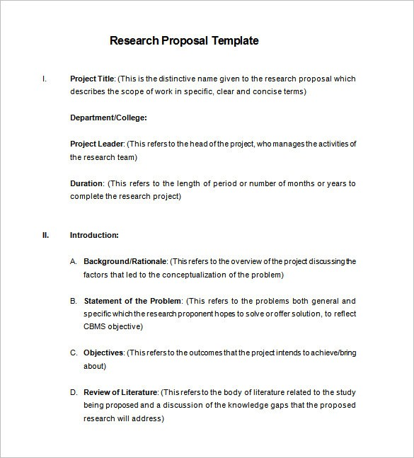 research proposal template  Research Proposal Templates- 21+ Free Samples, Examples ..