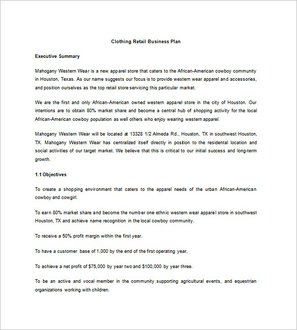 retail store business plan template  Retail Business Plan Template - 14+ Free Word, Excel, PDF ..