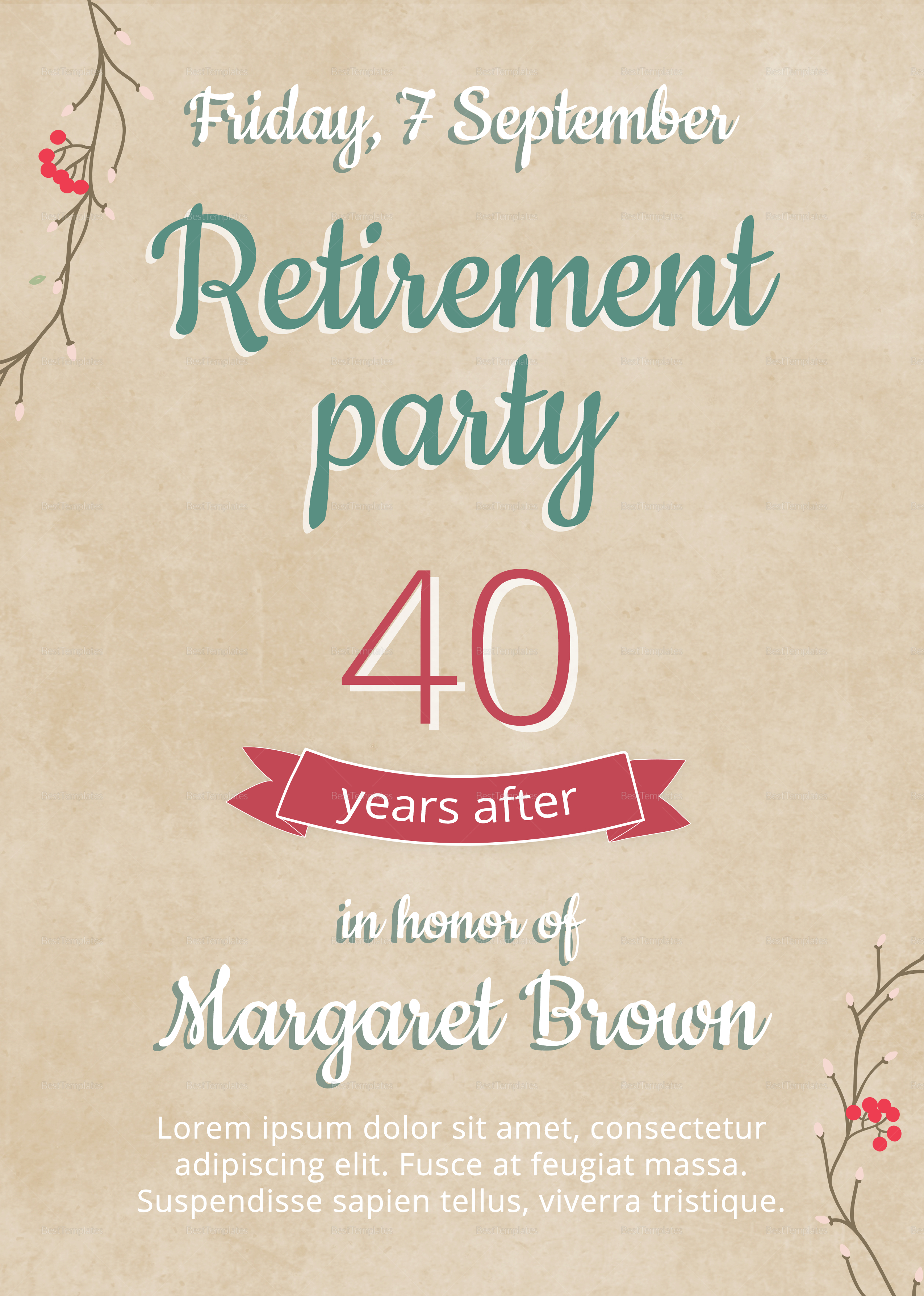 flyer template for retirement party  Retirement Party Flyer Design Template in PSD, Word ..