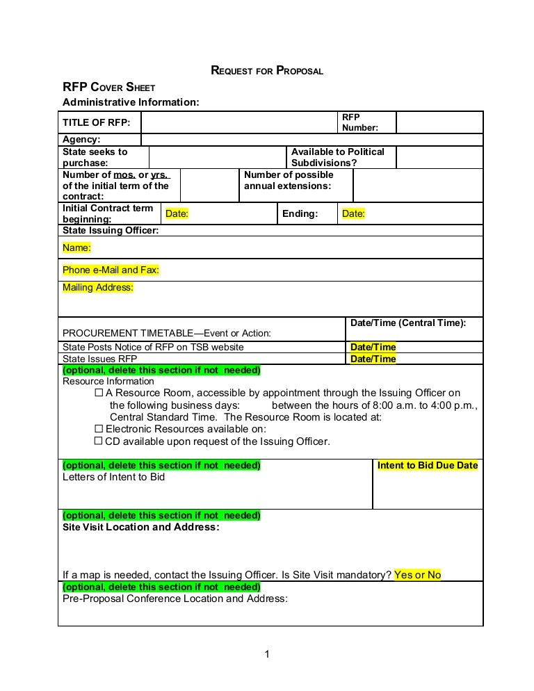 rfp proposal template  RFP Template - Word Document - rfp proposal template