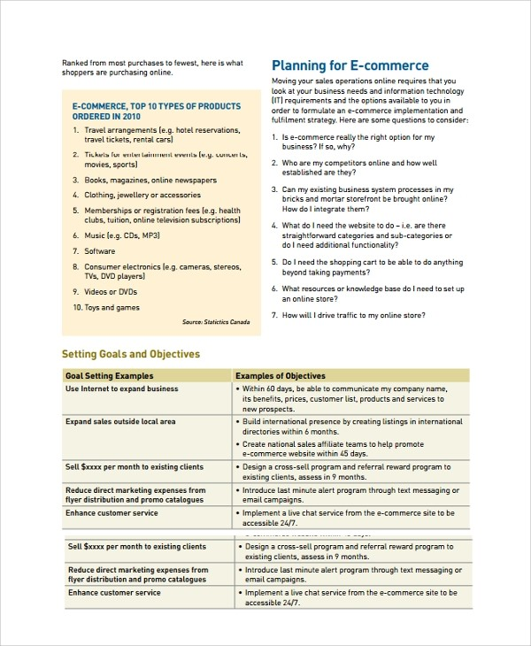 ecommerce business plan template doc  Sample Business Plan - 41+ Documents in PDF, Google Docs ..