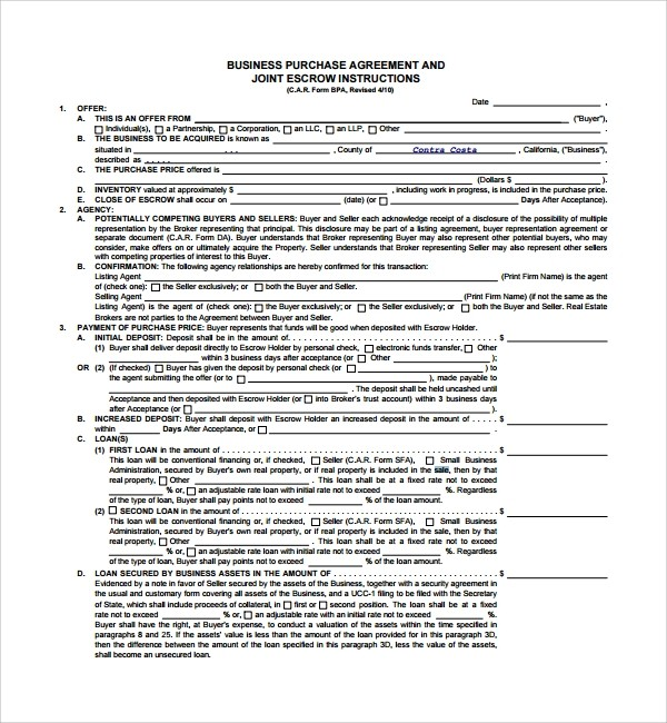 sales contract template doc  Sample Business Sale Agreement - 8+ Free Documents ..