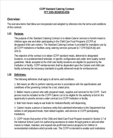 printable employment contract template uk  Sample Catering Contract - 15+ Examples in PDF, Word - printable employment contract template uk