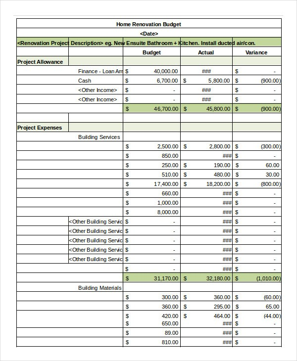 renovation budget template  Simple Budget Spreadsheet Template - 14+ FreeWord, Excel ..