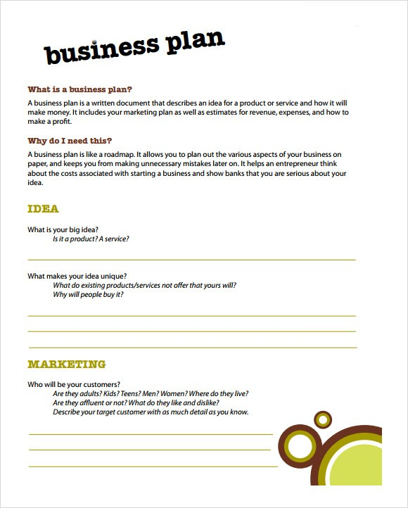 business plan template for kids  Simple Business Plan Template - 9+ Documents in PDF, Word, PSD - business plan template for kids