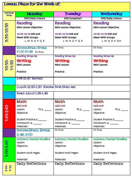 grade r lesson plan template  Simplify Your Life With an All-in-One Teacher Organizer ..