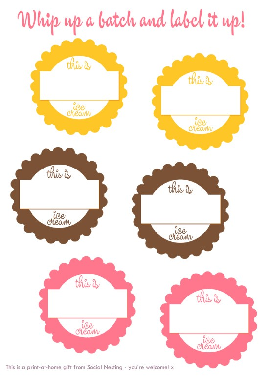 ice cream labels template  Social Nesting - Stay home and feather..