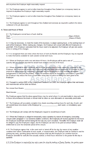 employment contract template  Standard Full Time Employment Contract - Employers Assistance - employment contract template