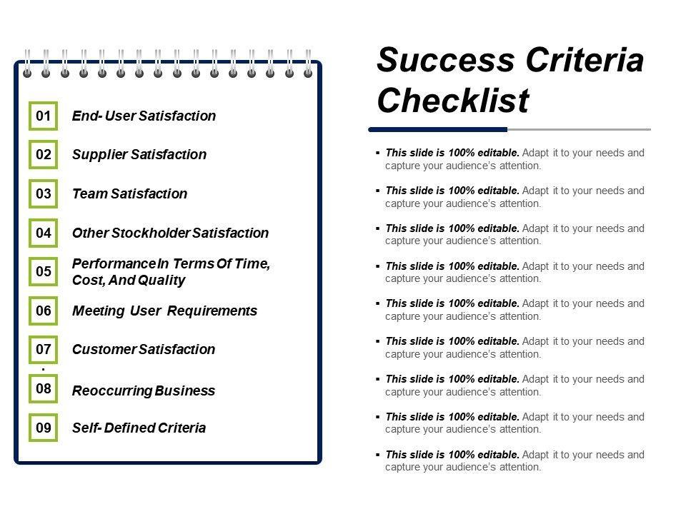 success criteria checklist template  Success Criteria Checklist Ppt Diagrams | PowerPoint ..