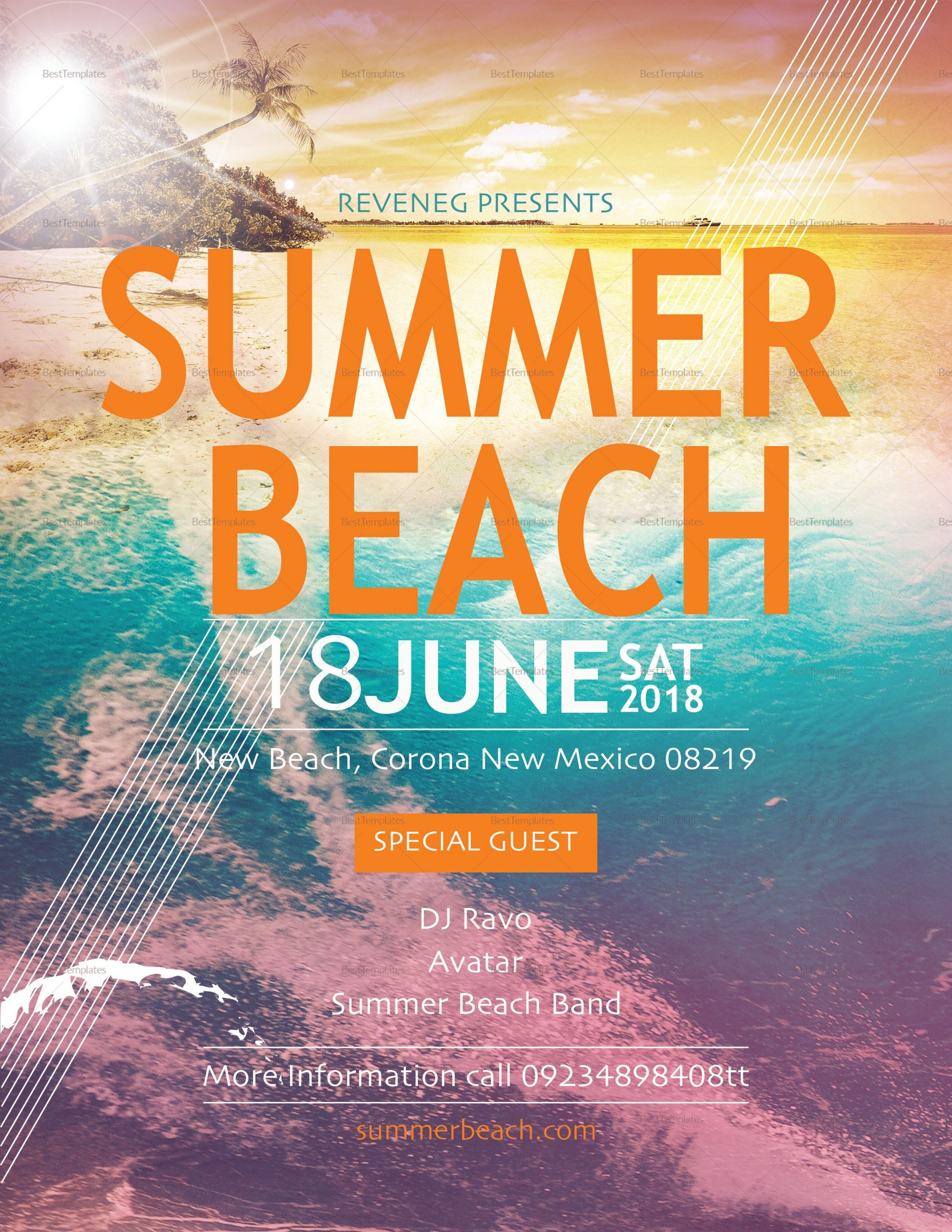 summer flyer template  Summer Beach Flyer Design Template in PSD, Word, Publisher ..