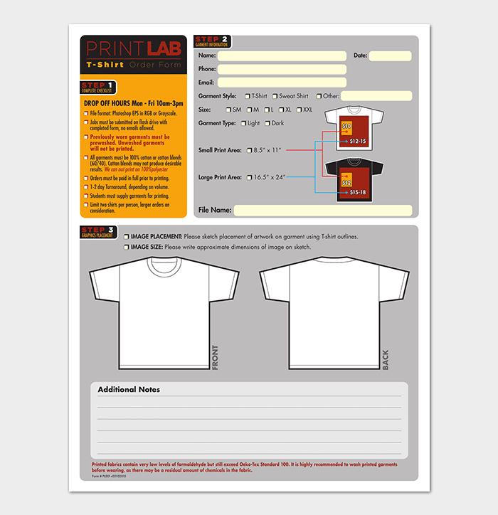 t shirt proposal template  T-Shirt Order Form Template - 17+ (Word, Excel, PDF) - t shirt proposal template