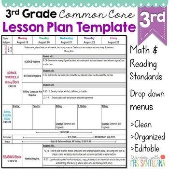 grade 3 lesson plan template  Third Grade Common Core Lesson Plan Template by Math Tech ..