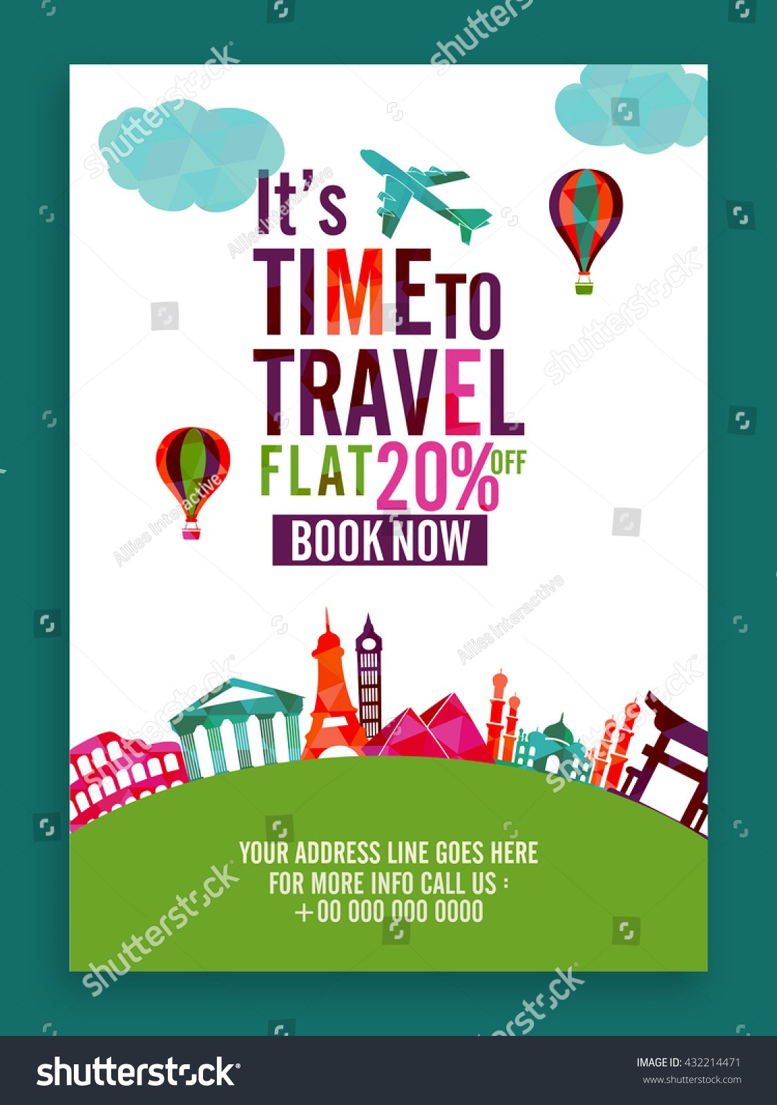 20 off flyer template  Time Travel Flat 20 Off On Stock Vector 432214471 ..